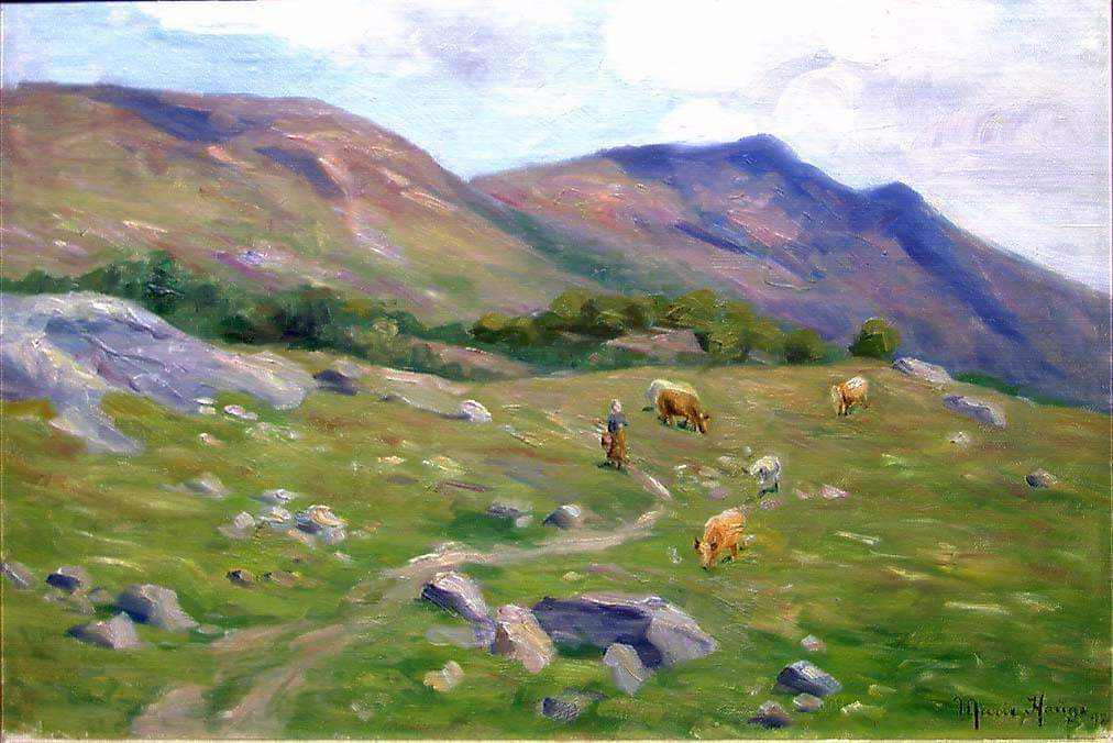 Mountain Landscape, 1898, by Norwegian artist Marie Hauge 😊 Photo @nasjonalmuseet/ Jacques Lathion #Norway #art #kunst #summer