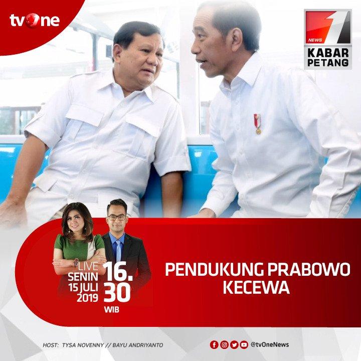 Pendukung Prabowo kecewa.Nantikan Kabar Petang bersama Tysa & Bayu jam 16.30 WIB hanya di tvOne & streaming di tvOne connect, android http://bit.ly/2CMmL5z  & ios http://apple.co/2Q00Mfc #KabarPetangtvOne