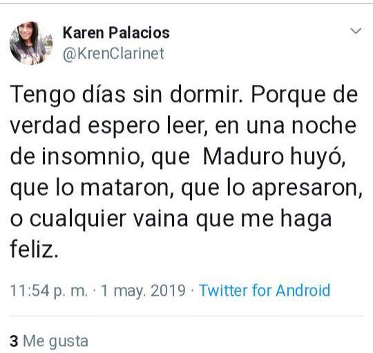 Clarinetista de Orquesta Filarmónica de Venezuela, Karen Palacios, no está presa por su postura política sino por promover el odio. El 1MAY dijo que la haría feliz que mataran a Maduro y que esto será hasta que nos arrechemos y entre 100 matemos a unos 10 guardias. Ver mensajes