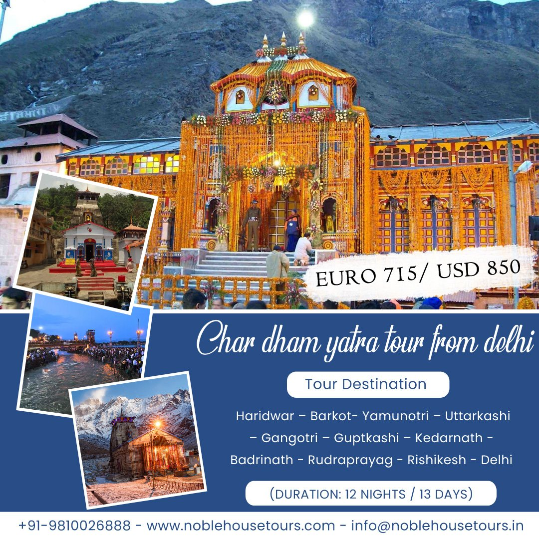 Book now to experience the spiritual Hindu #religious significance at #Chardhamyatra. https://www.noblehousetours.com/char-dham-yatra-tour-package/… … #noblehousetours #Uttarakhand #chardham #mahadev #tour #incredibleindia #kedarnathtemple #badrinath #travel #traveling #travelblogger #TravelTuesday  #Tourism #Tourist