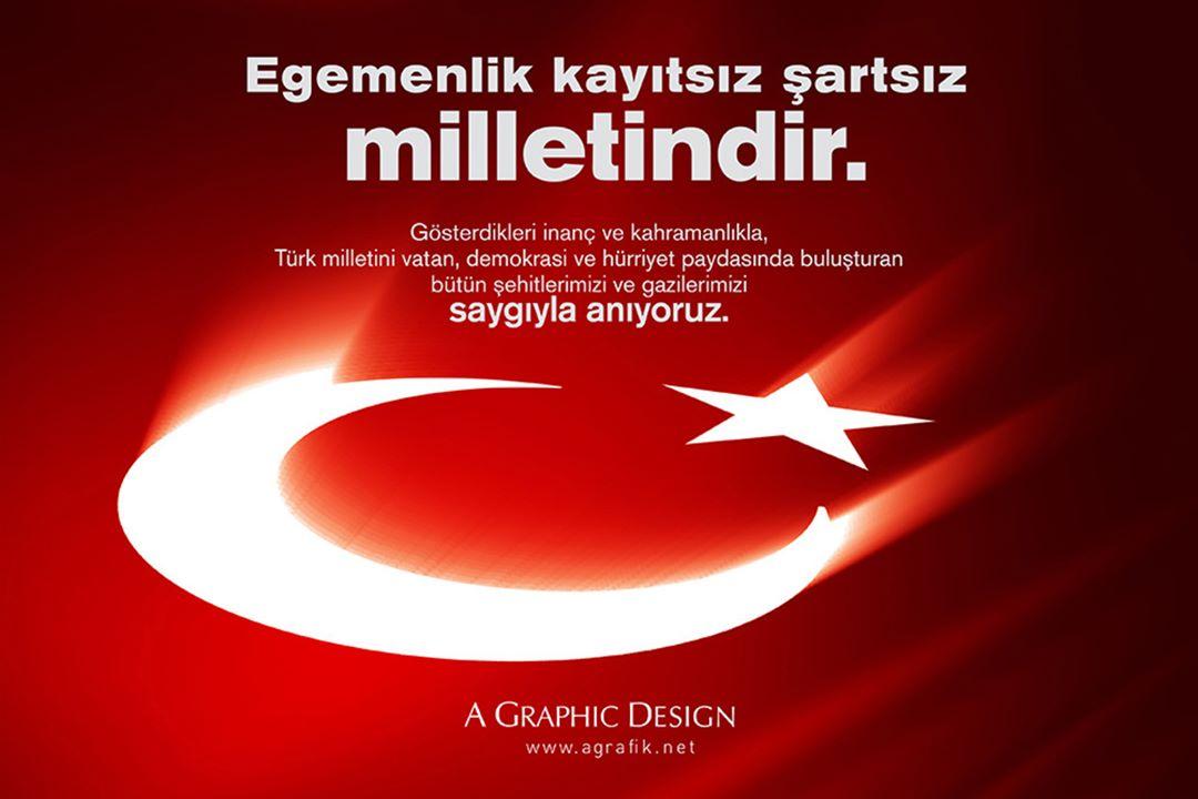 Gösterdikleri inanç ve kahramanlıkla Türk milletini vatan, demokrasi ve hürriyet paydasında buluşturan gazi ve şehitlerimizi saygıyla anıyoruz. #15Temmuz  #DemokrasiveMilliBirlikGünü https://t.co/d7sLxuWqzt