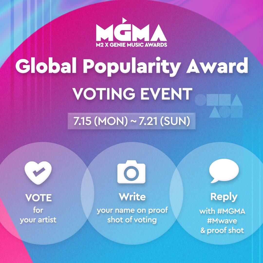 [#MGMA EVENT] Vote for MGMA Global Popularity Award and get artist signed CD only available on Mwave(randomly)!  >  http:// bit.ly/2Xm07I3       > Write your name on captured image of your voting     > Winner Announcement : 7.24 (2 winners)  #M2 X #GENIE  MUSIC AWARDS @MGMA_official<br>http://pic.twitter.com/yK9Zwfy73r