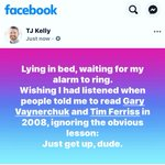 Lying in bed, waiting for my alarm to ring.Wishing I had listened when people told me to read @garyvee and @TimFerrissBlog in 2008, ignoring the obvious lesson:Just get up, dude.https://t.co/VN6AxMDV8c