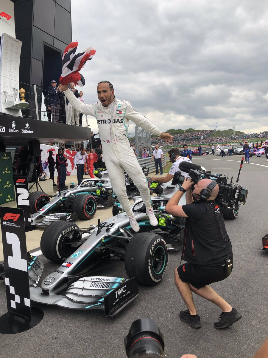 Was lucky enough to catch this shot as @LewisHamilton jumped off his car after winning the British GP. Think it sums up almost every sports fans feelings at some point yesterday. #f1 #cricket #tennis #britishgp #ICCWorldCup2019 #wimbledon #skyf1 #skycricket<br>http://pic.twitter.com/6ohhaf0a3R