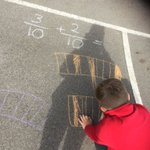 Image for the Tweet beginning: Fraction learning outside in the
