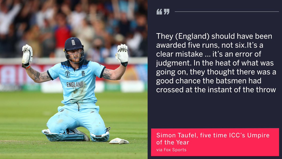 "Simon Taufel says there was ""an error of judgment"" in awarding England six runs, instead of five, for the overthrow that hit Ben Stokes' bat and ran to the boundary  #CWC19Final"