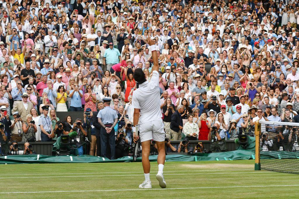 "🏆🏆🏆🏆🏆""When the crowd is chanting 'Roger' I hear 'Novak'.""It was an extraordinary final at #Wimbledon. #SW19 title number five for Novak Djokovic.➡️https://bbc.in/2JGqwvl"