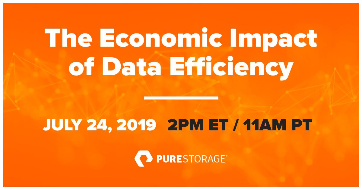 Join ESG & Pure Storage in this upcoming webinar to learn about the economic impact of data efficiency in real-world storage environments. bit.ly/2jVMP7j
