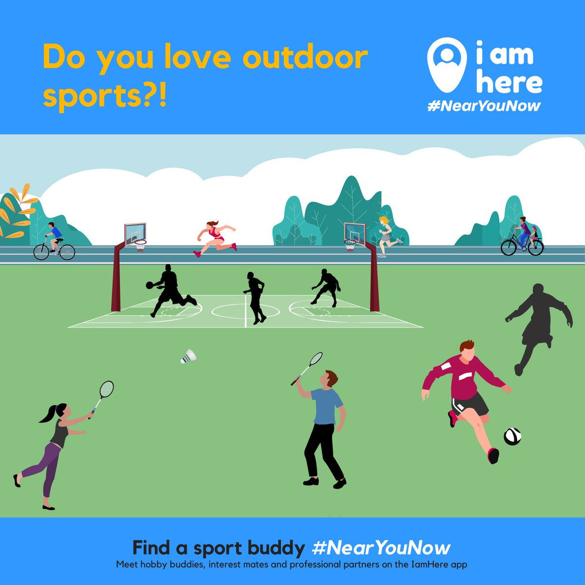 Utilize your love towards sports to join the Health Revolution!! Find sport buddies #NearYouNow on the IamHere app!!! . Install the app to explore more #NearYouNow https://bit.ly/IamHereApp  . #iamhere #nearmenow  #people #community #friends #neighbourhood #likemindedpeople #buddy