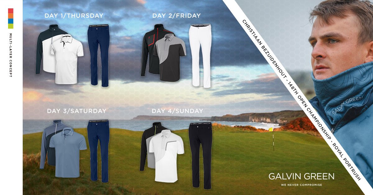 We're thrilled to see @BezChristiaan make his debut at #TheOpen @royalportrush To celebrate this we're proud to unveil Christiaan's outfits for the week. ⭐️ To win all 4 outfits retweet, like and follow @galvingreen ⭐️ Winner announced next Monday! Good luck Christiaan!