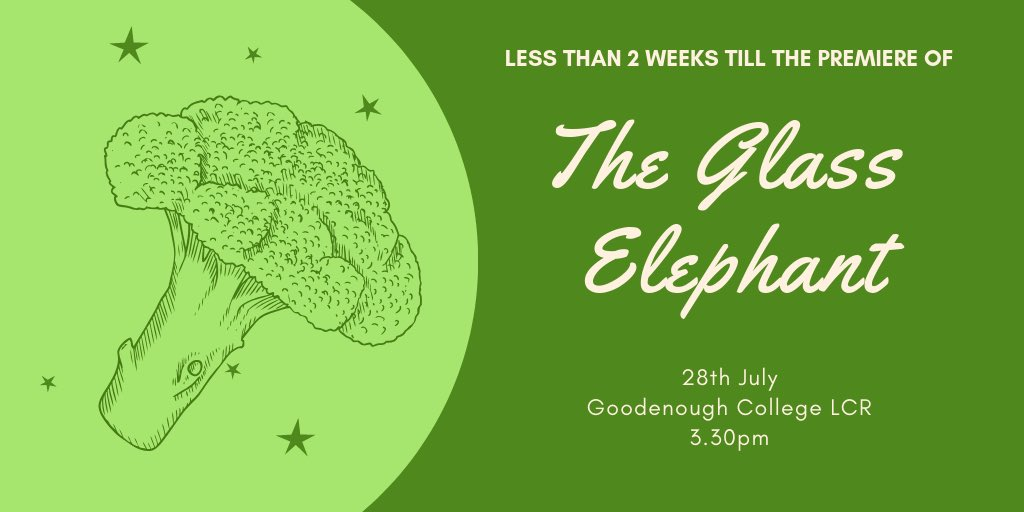 We would love it if you could make it to the preview of our #edfringe  show the #glasselly on the 28th July 3.30pm at @goodenoughc Tickets now on sale from the square for members of the college. Non-members should contact goodtheatrecomp@gmail.com for tickets #MakeYourFringe
