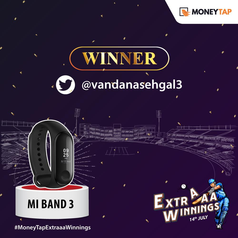 And the lucky winner of the grand finale is @vandanasehgal3! Congratulations, your prediction was bang-on. Please DM us your details, your #MiBand3 will reach you soon.    #MoneyTap #Contest #ContestAlert #MoneyTapExtraaaWinnings #CWC19 #NZvENG #ENGvNZ @Xiaomi @XiaomiIndia<br>http://pic.twitter.com/7VwsYAHWmv