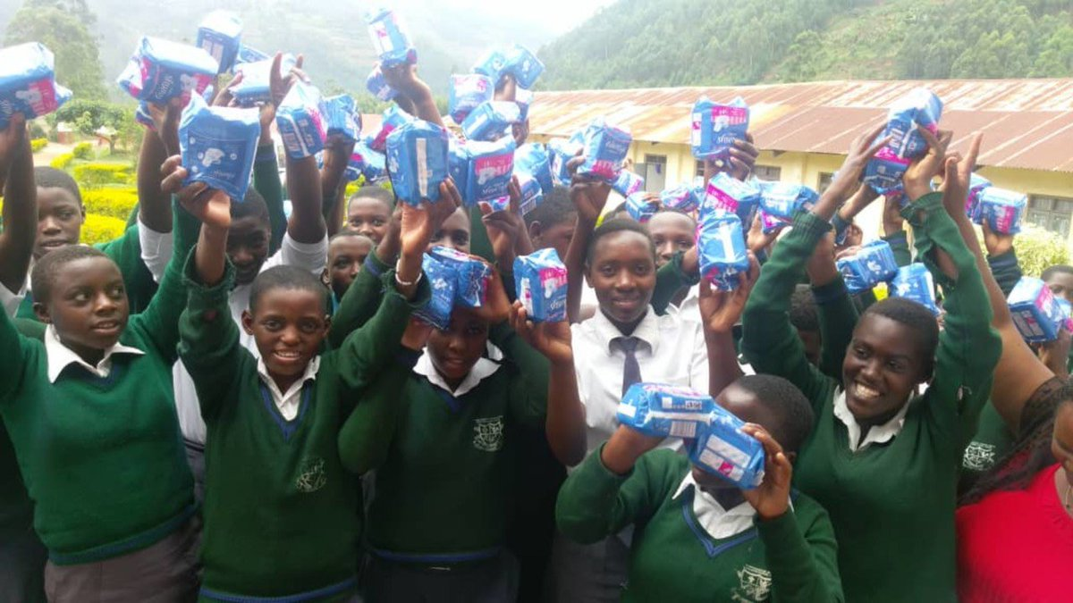 """Kupata Project   """"See the girls in the photo? Pretty happy, right. The reason for their joy is easy enough to explain. They have just been given sanitary #pads which means for the next year they can look forward to never having to miss a day in #school.."""" https://www.givey.com/kupata"""