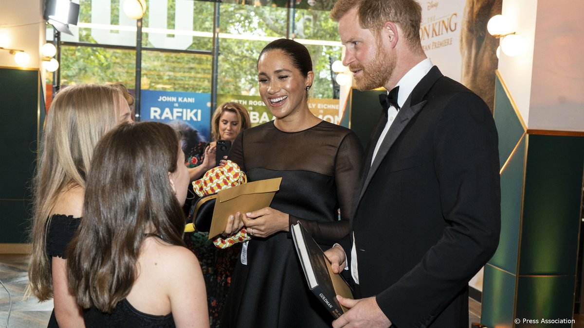 During The Lion King event Their Royal Highnesses met supporters of @AfricanParks, of which The Duke is President. They also met young children who were invited to the event and the cast of the film, including Beyoncé, and Sir Elton John who wrote the original score.