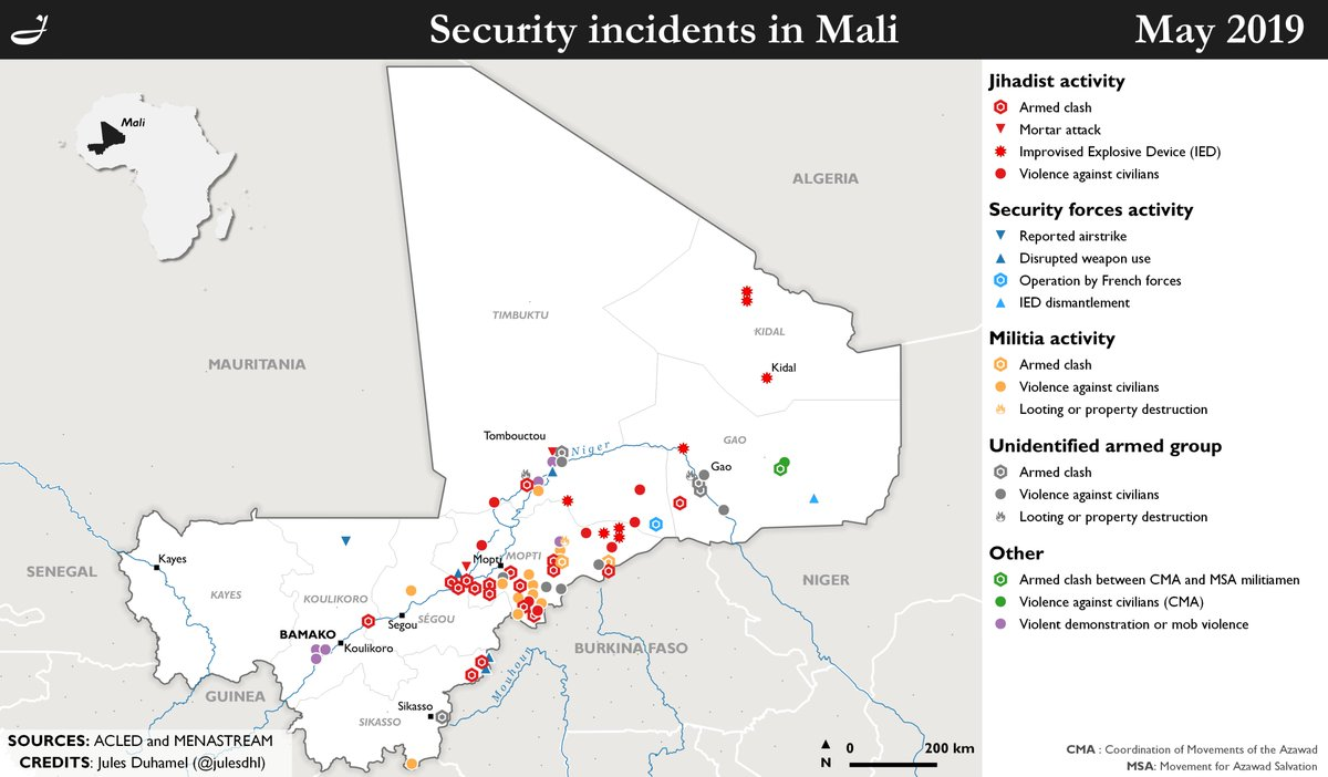 Map of the security incidents in #Mali 🇲🇱 during May 2019.Sources: @ACLEDINFO and @MENASTREAM.