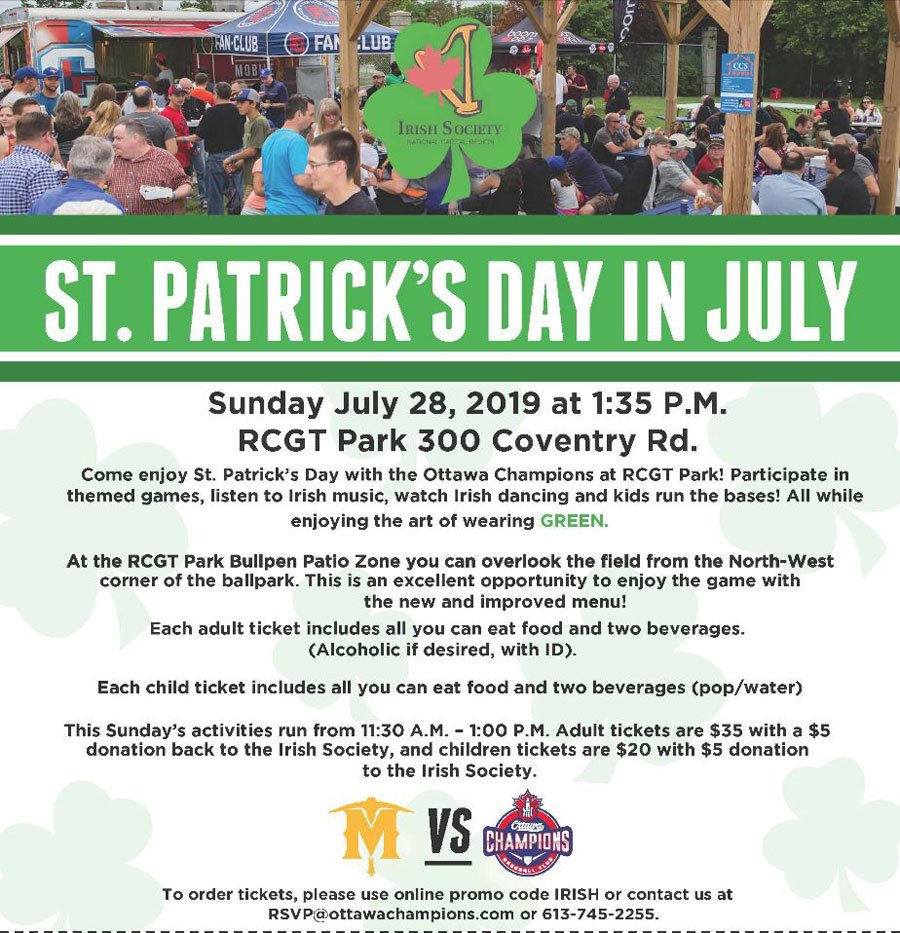Celebrate #StPatricksDay in July with the @IrishSocietyNCR and @OttawaChampions  http:// ow.ly/hrB350uYCtX     <br>http://pic.twitter.com/HfeXH9E02v