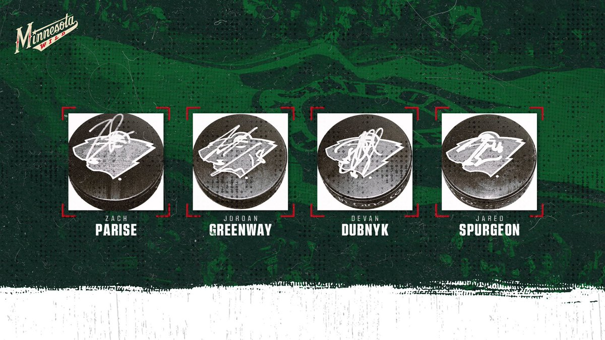 Switching it up a bit — now we have a Zach Parise, Jordan Greenway, Devan Dubnyk & Jared Spurgeon set of autographed pucks. RT to enter. One random winner. #mnwild | #NationalGiveSomethingAwayDay