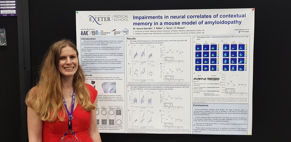 Come and find out about 'Impairments in Neural Correlates of Contextual Memory in a Mouse Model of Amyloidopathy' from @mariagrga 12-1pm today (P2-423) at #AAIC2019 #ExeterDementia @ExeterMed