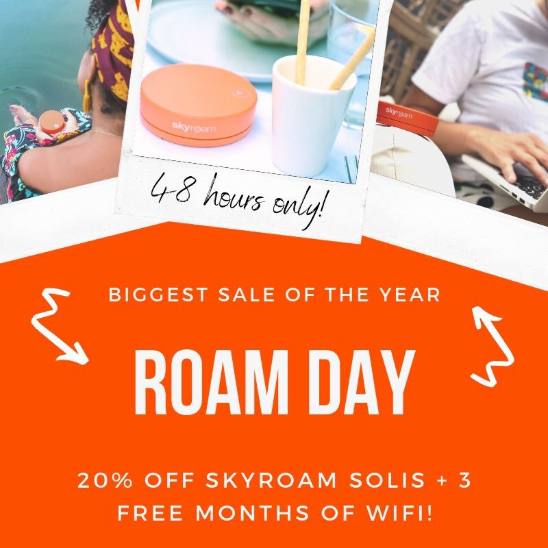3 months FREE WiFi, and 20% off your Skyroam Solis today! 48 hours only!!  http://Www.skyroam.com