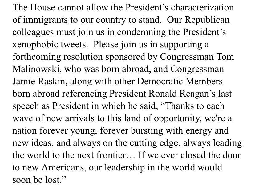 Pelosi asks Dems to join in condemning trumps remarks.