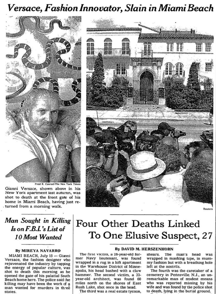 Gianni Versace Miami Beach Times Fashion Designer Gianni Versace Killed Miami Beach Times Wrote Killing Stunned International Fashion Reigned Visible Successful Influential Figures Nyt Archives Scoopnest
