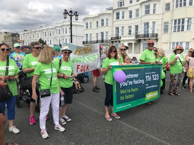 Our volunteers are all colours, genders, ages & nationalities, walking with #Pride this past Saturday @PrideWorthing @samaritans #Worthing