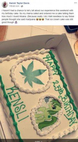 """【違いすぎる】誕生日ケーキで店員がミス モアナが""""マリファナ""""に 米ディズニーのモアナが好きな娘のために母親が注文した際、店員がモアナとマリファナを聞き間違えてしまったという。"""