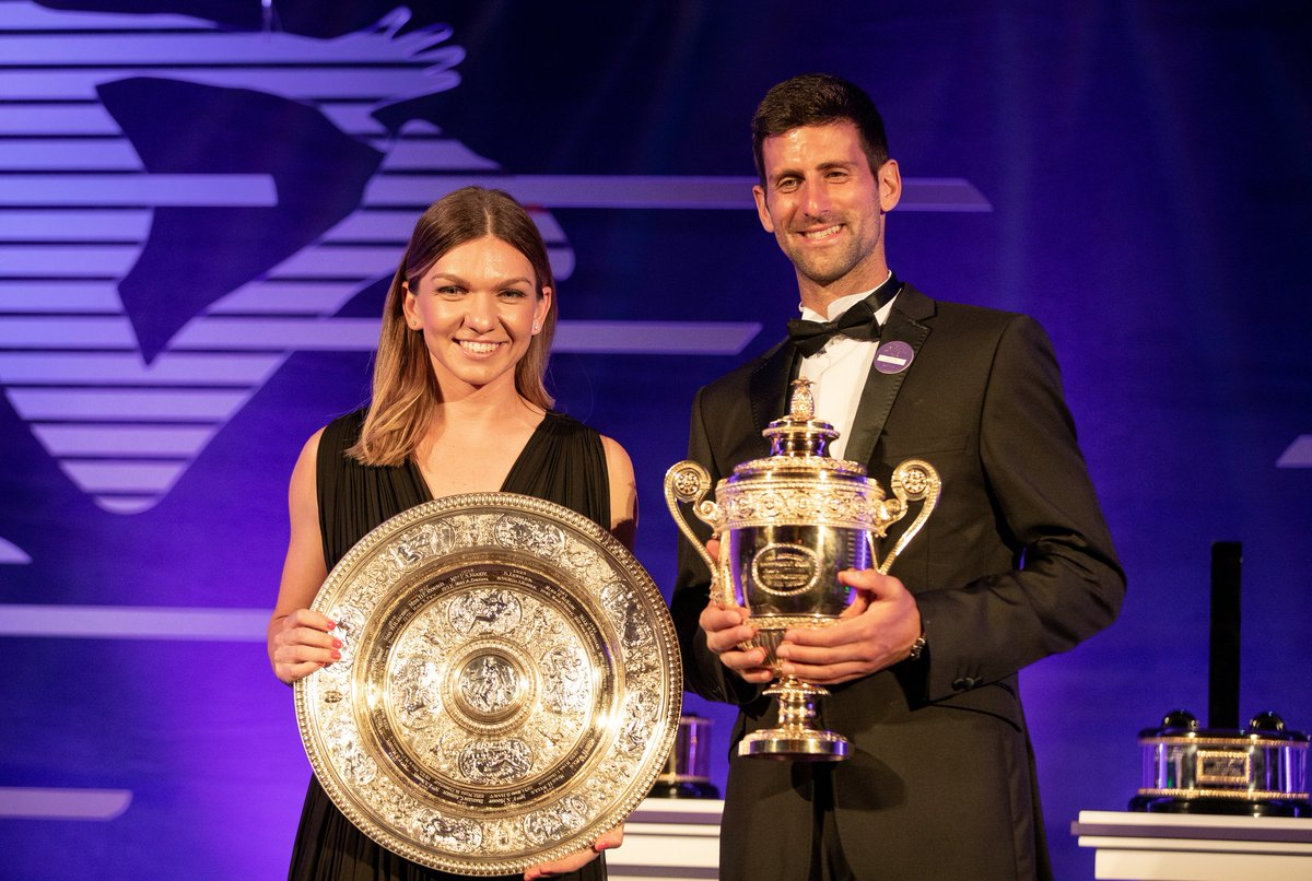 At the 2019 Champions' Dinner, it was time to celebrate a Championships to remember...#Wimbledon | @DjokerNole | @Simona_Halep
