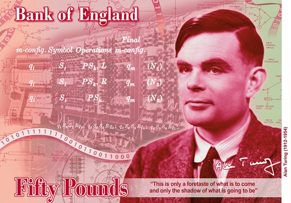 I just got a nice little shiver when working out whether the binary on the ribbon of the new £50 banknote meant anything. 1010111111110010110011000 is 23061912 in decimal. Alan Turing was born on the 23rd June 1912. What a nice touch. RIP, Alan.