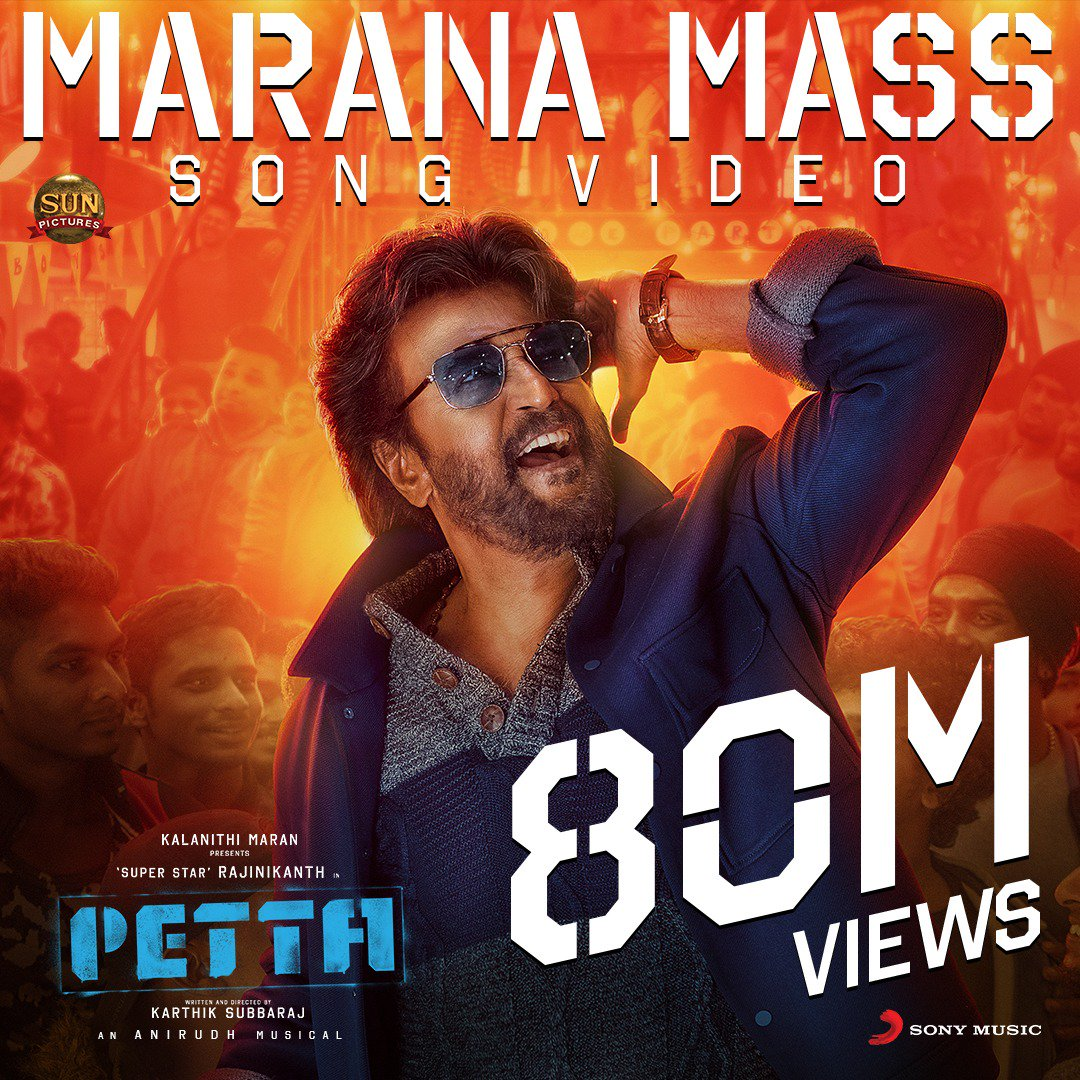 Setting UNBELIEVABLE records! #MaranaMass video steps into the thunderous  MILLION views club!     http:// bit.ly/MaranaMassVideo      #MaranaMassHits80M  @rajinikanth @sunpictures @karthiksubbaraj @anirudhofficial <br>http://pic.twitter.com/tBfcPtSyL8