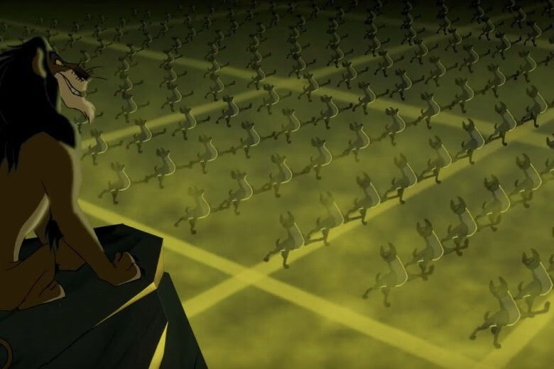 """Scar had them hyenas lined tf up in formation! """"Be Prepared"""" went hard af fam!"""