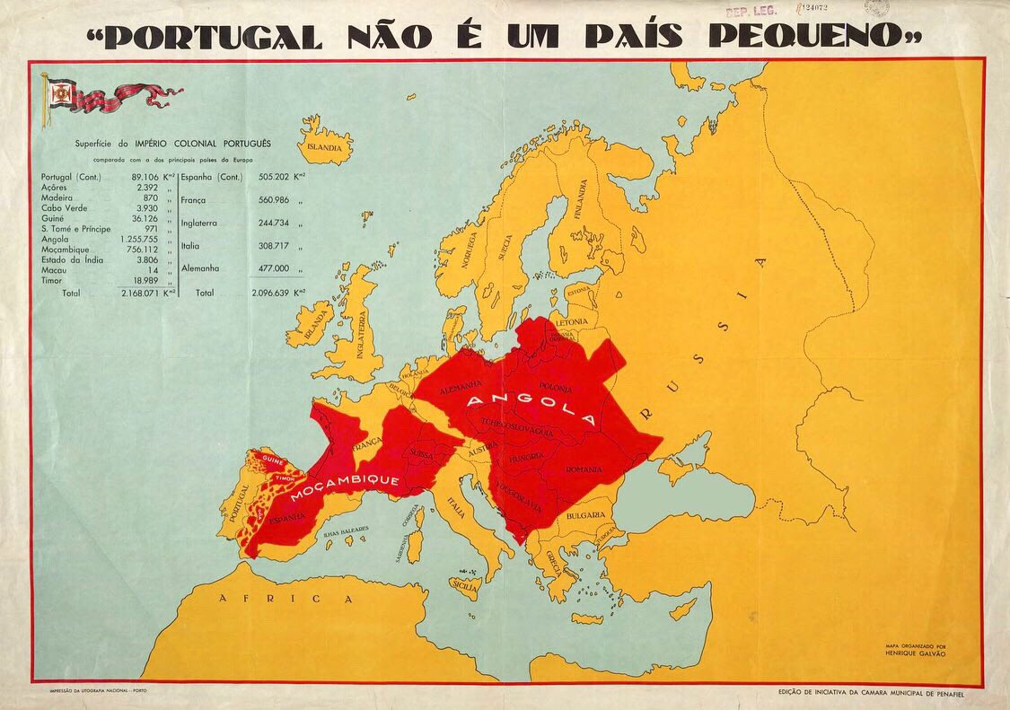 """Portugal is not a small country"" –  #Portuguese propaganda map used in a brochure during Portugal's 1934 ""Colonial Exhibition"", showing Angola and Mozambique (then Portuguese colonies) superimposed on a map of Europe <br>http://pic.twitter.com/AE5vd4ASzr"