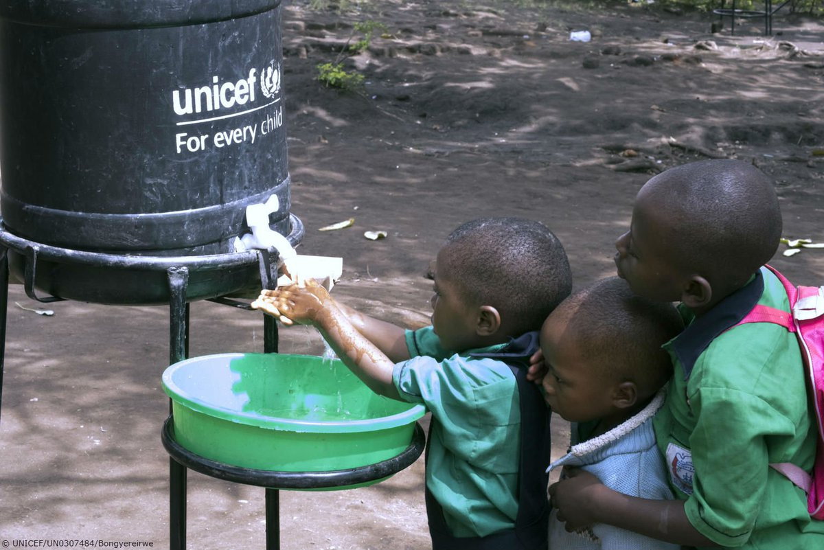 These students are washing their hands at a primary school near the border between Uganda and DR Congo.  Preventing infection among children is at the heart of our #Ebola response.