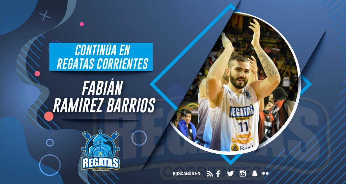 #CRC   @FabianRamBar sigue en el Remero. El ala pivote correntino renovó su vínculo con Regatas, de cara a la @LigaNacional 2019/20. De esta manera disputará su cuarta temporada consecutiva en el club 💪 #LNB 🏀 #VamosParque 👻