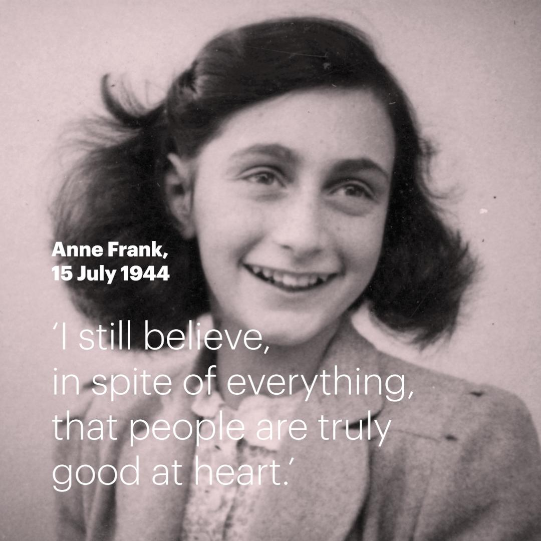 #OnThisDay in 1944, #AnneFrank wrote one of her most #inspiring #quotes. What does Anne Frank mean to you? Share it with us! #RT #quoteoftheday<br>http://pic.twitter.com/dvTZF9j7Ur