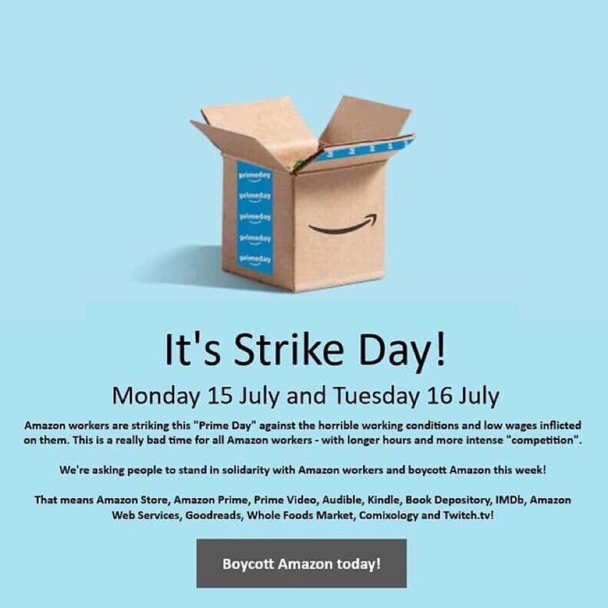 Solidarity with those participating in the #AmazonStrike today. Workers deserve better. Don't cross the digital picket line. #1u <br>http://pic.twitter.com/RtxTOYveHO