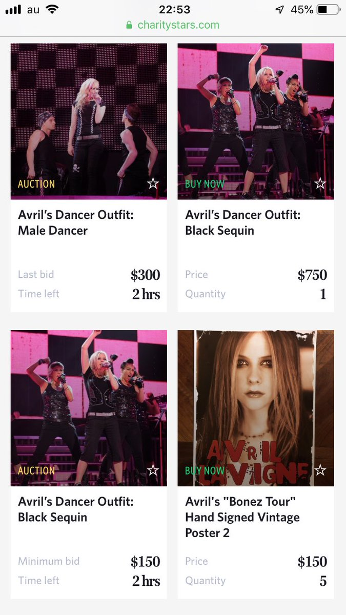 #CharityStar #AvrilLavigne Almost Auctions will finish about two hours later.(*゚∀゚*) #TheAvrilLavigneFoundation #アヴリルラヴィーン  Don't miss it!