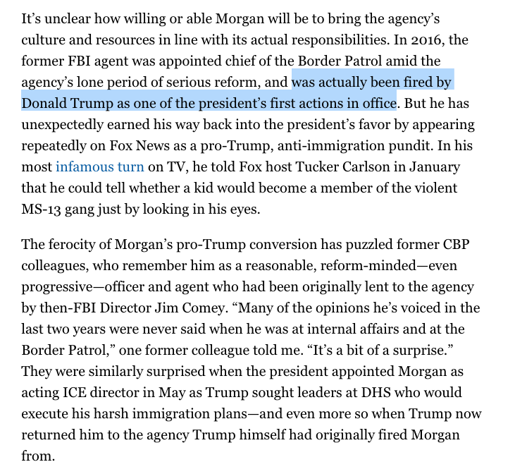 So let me get this straight:Trump fired the head of the Border Patrol who then went onto Tucker Carlson spouting nasty anti-immigrant rhetoric (contradicting his views when he headed the agency) and then Trump hired him to be the acting head of ICE?? 😳https://www.politico.com/magazine/story/2019/07/15/border-patrol-trump-administration-227357…