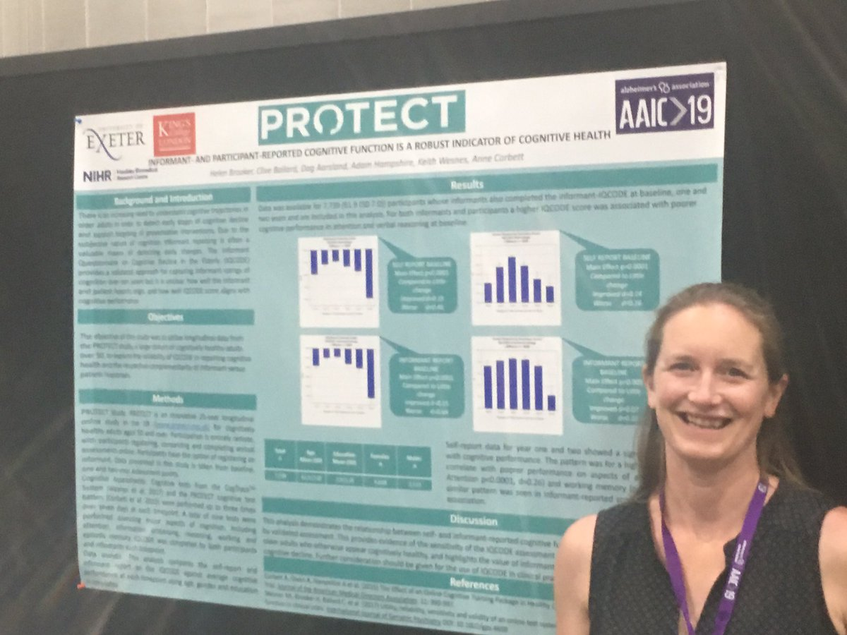 Great to see so many studies from our PROTECT online cognitive health programme st AAIC! #exeterdementia #AAIC2019