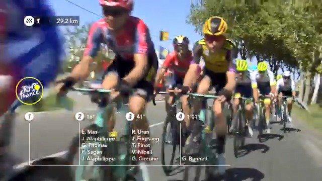 Waaierslagveld in Tour de France: Pinot, Uran, Bennett, Mollema en Porte verliezen tijd