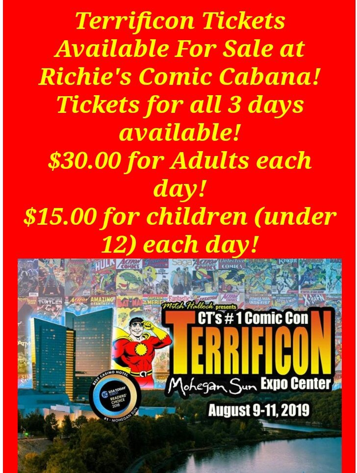 Come get you're @ItsTerrifiCon tickets at Richies Comic Cabana @cabanaman40 in Waterbury CT <br>http://pic.twitter.com/Isaol2ul5X