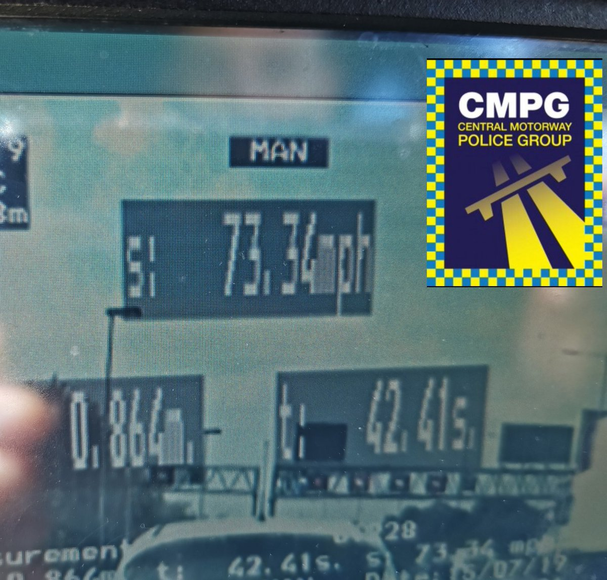 This driver drew attention by speeding through a 50mph limit on the M6. Speed check showed an average of 73 MPH. Driver reported and can look forward to points on their licence. AD