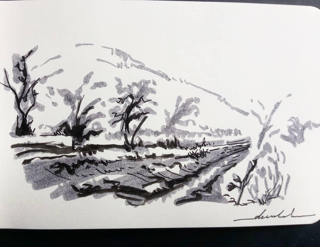 Slope #dailyart #dailyillustration #trees #nature #slope #blackandwhitedrawing #brushpen https://t.co/Tbm08tIVHO