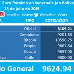 Image for the Tweet beginning: Euro en #Venezuela  15/07/2019