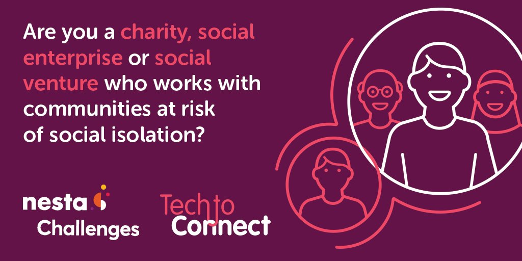 You have 4 weeks left to apply for the #Tech2Connect prize – consisting of £500,000 worth of biz support from Nesta and £500,000 in funding. We're looking for a wide range of innovative tech ideas to support people suffering from isolation, register here: techtoconnect.challenges.org