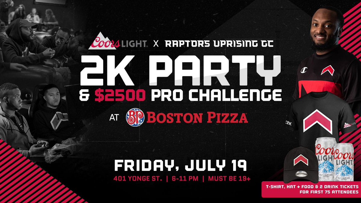 Plans this Friday❓ Change em‼️ Were hosting a 2K Party on the Boston Pizza Yonge St. rooftop patio 🍕🍻 📺 Watch the final @NBA2KLeague regular szn broadcast with Raptors Uprising staff & players 🎮 Plus, teams of 5 can challenge the pros for $2,500 » rpt.rs/ProChallengeWe…