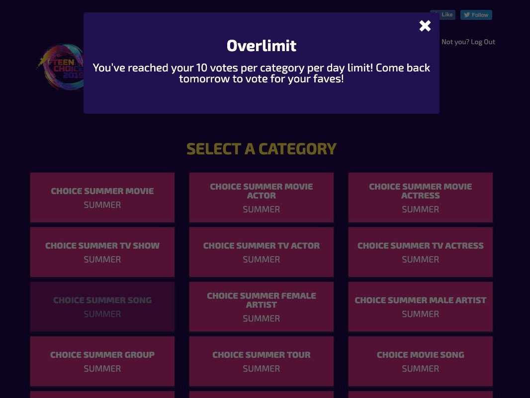 "This is how your website should like right now. It only takes a few seconds to get your 10 daily votes in, please make sure you're voting! My #TeenChoice for #ChoiceSummerSong is ""Señorita"" by @ShawnMendes & @Camila_Cabello"