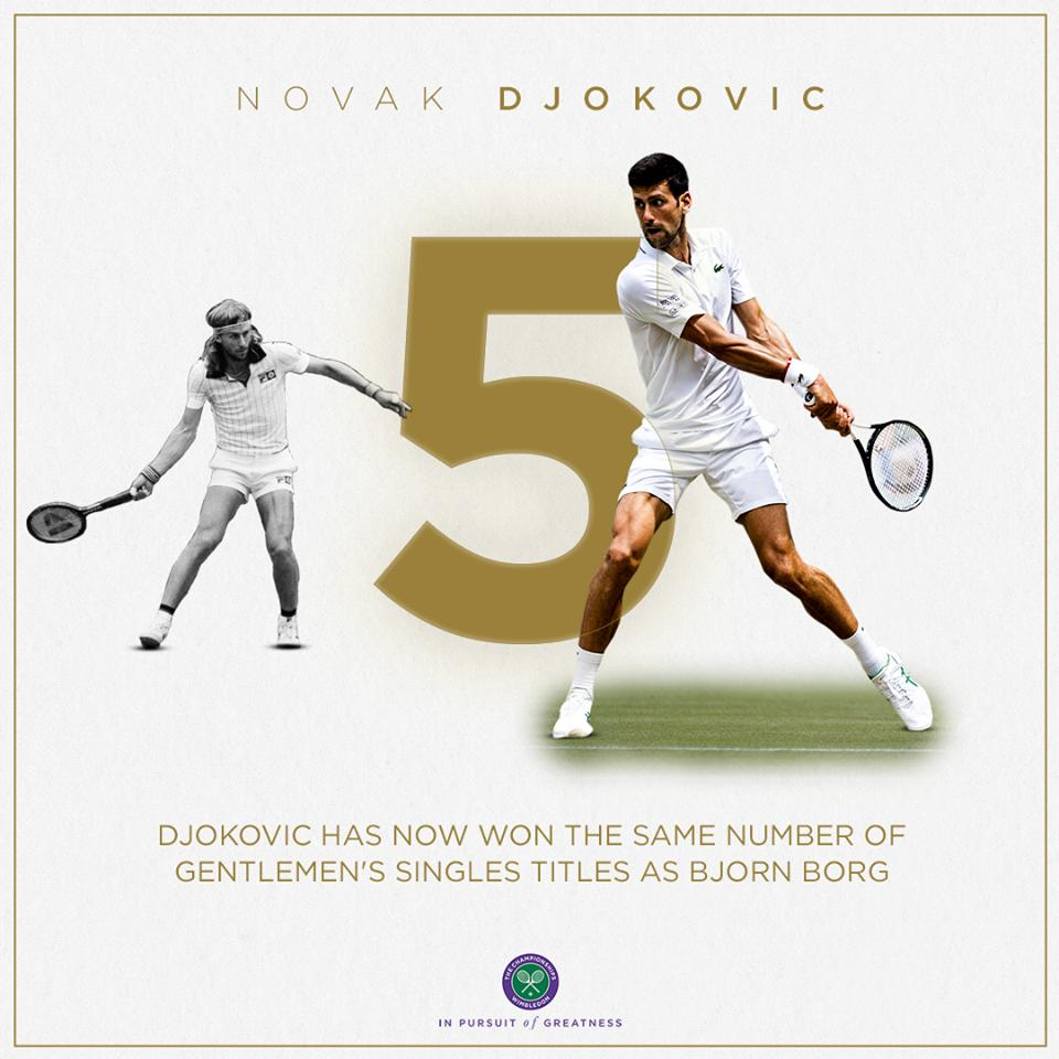 Five #Wimbledon crowns, won within a single decade.An all-time great. @DjokerNole 👏