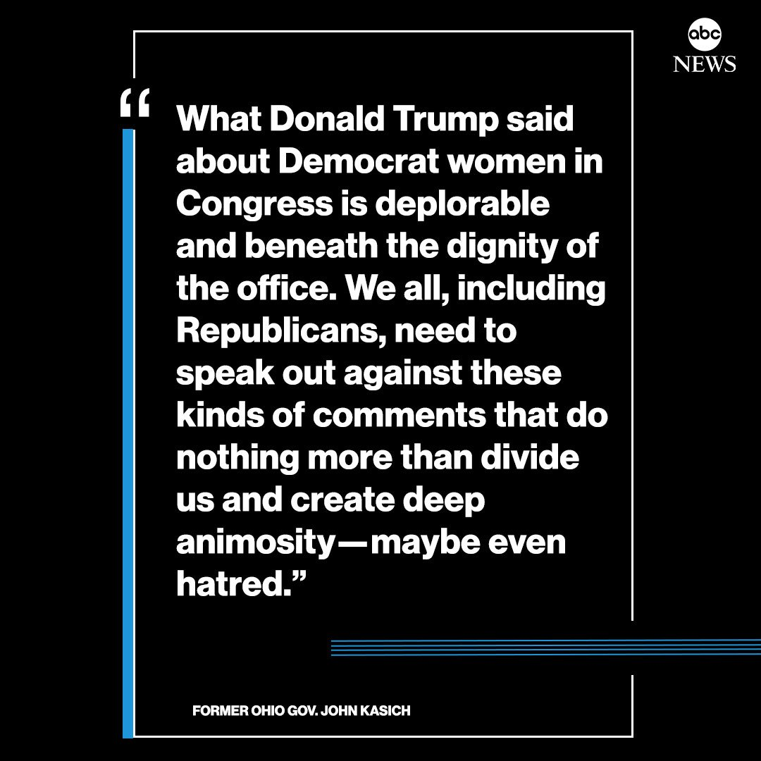NEW: Former Ohio Gov. John Kasich: We all, including Republicans, need to speak out against these kinds of comments that do nothing more than divide us and create deep animosity - maybe even hatred. abcn.ws/2jGdEwc