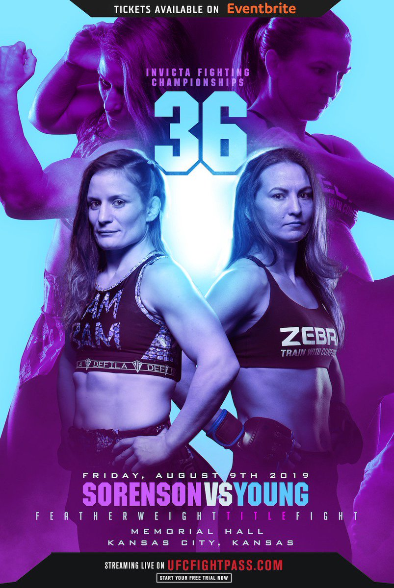 InvictaFights Your official #InvictaFC36 poster by Bosslogic! 🔥  PamBam_Sorenson takes on kaitlin_young for the vacant featherweight title this August 9th LIVE on UFCFightPass!  #wmma